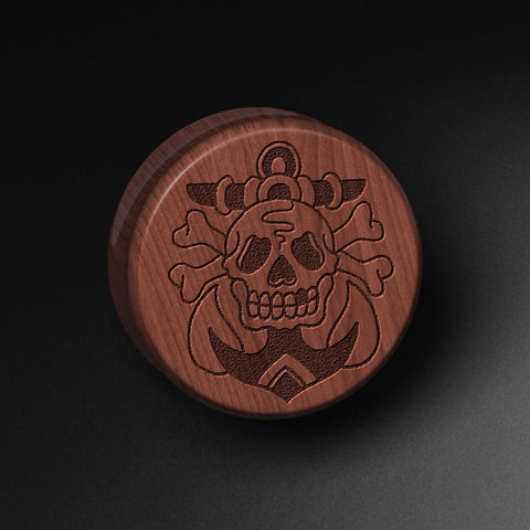 Lee Pound's Skull & Anchor Laser Engraved Saba Wood Plug