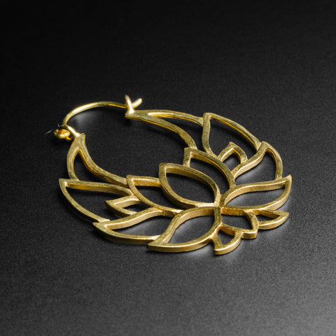 Lotus Flower Brass Plug Hoops