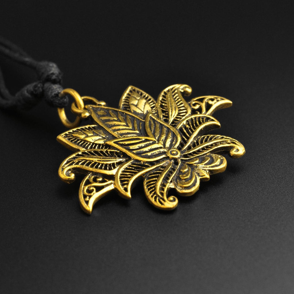 Lotus Flower Brass Pendant With Adjustable Cord Necklace
