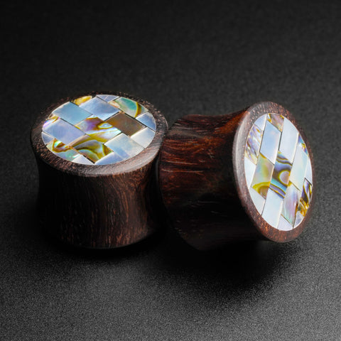 Sono Wood Double Flare Plug With Abalone Shell & MOP Mosaic Inlay