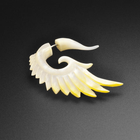 Mother Of Pearl Fake Gauge Angel Wings