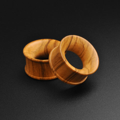 Olive Wood Double Flare Concave Tunnel
