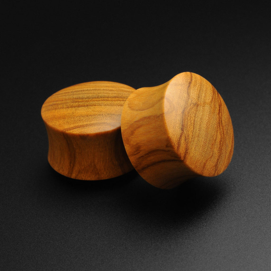 Olive Wood Double Flare Convex Plug