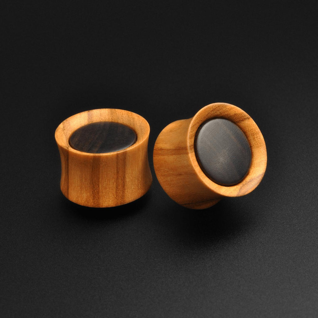 Olive Wood Double Flare Plug With Sono Wood Inlay