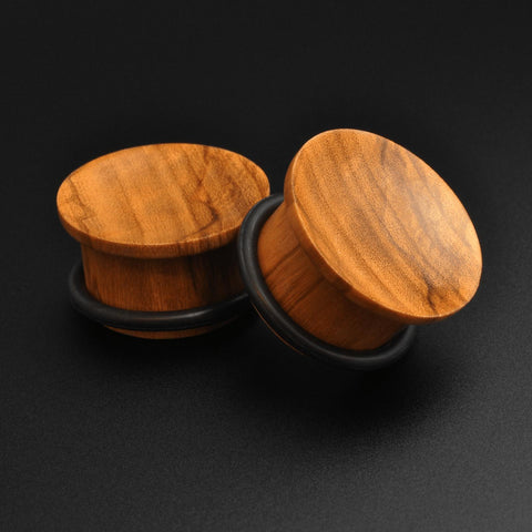 Olive Wood Single Flare Concave Plug