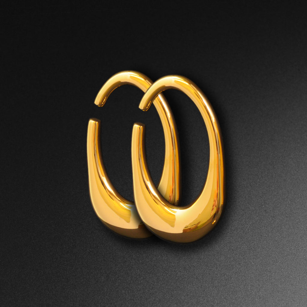 Oval Gold PVD Surgical Steel Ear Weight