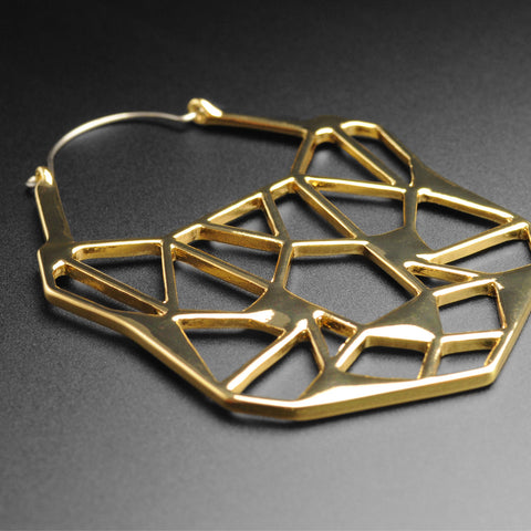 Geometric Panther Gold Plug Hoops