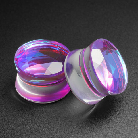 Purple Faceted Aurora Glass Double Flare Plug