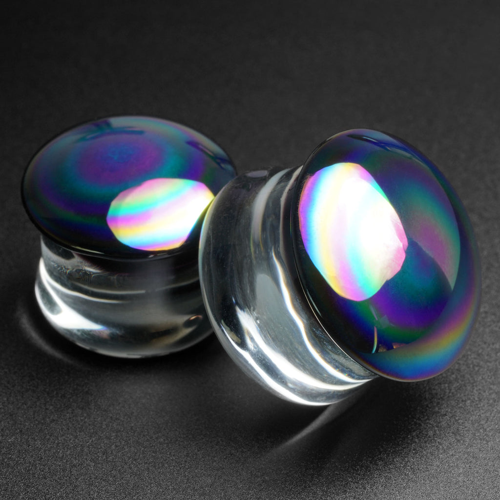 Rainbow Oil Slick Glass Double Flare Plug