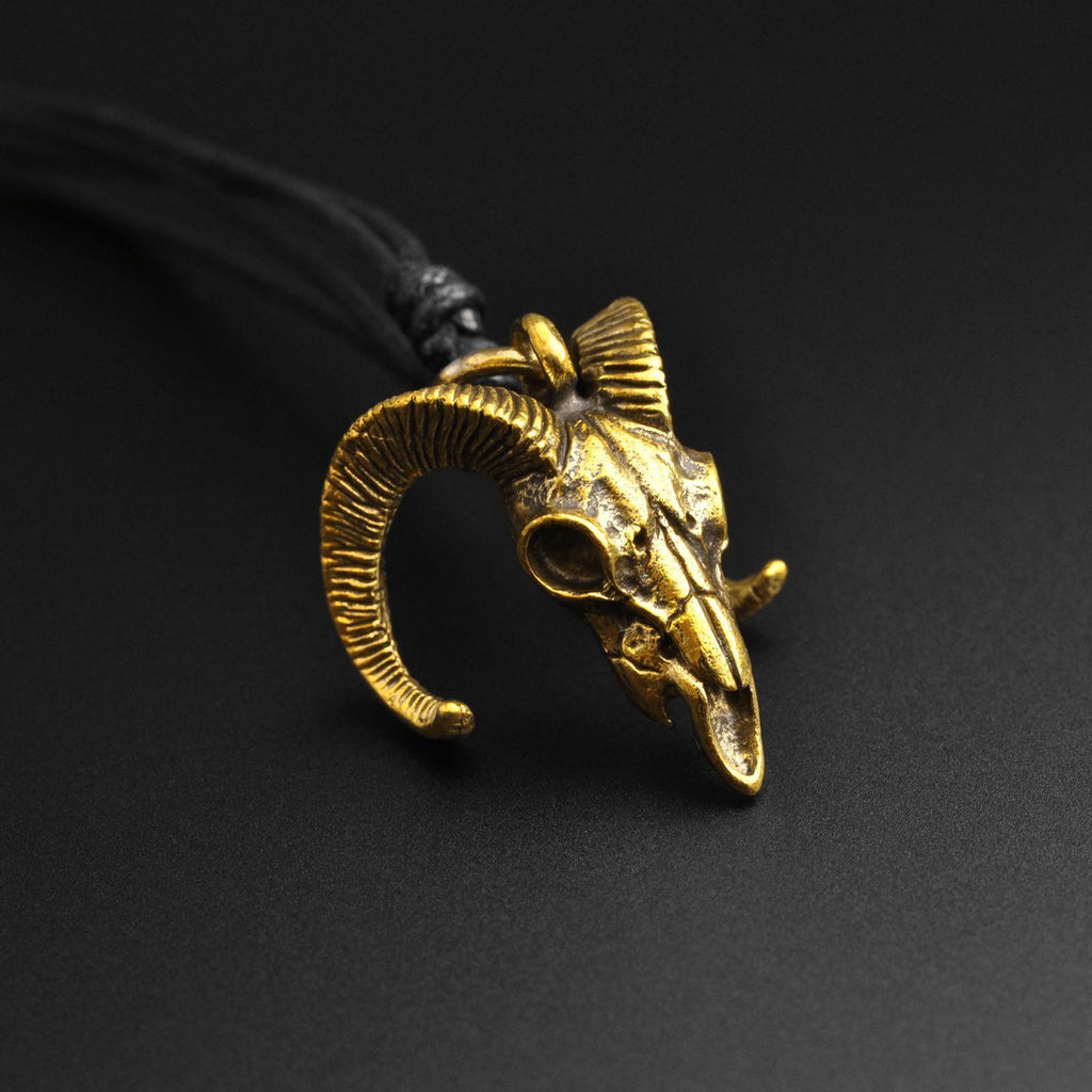 Ram Skull Brass Pendant With Adjustable Cord Necklace