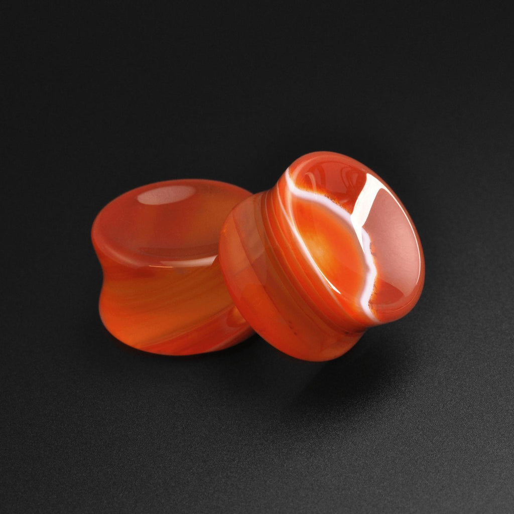Red Striped Agate Double Flare Concave Stone Plug
