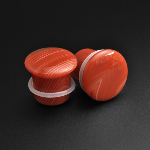 Red Stripe Agate Single Flare Convex Stone Plug