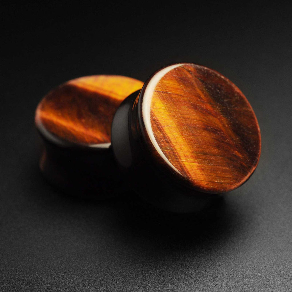 Red Tiger's Eye Double Flare Stone Plug