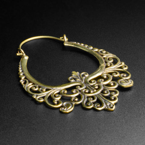 Regal Floral Brass Plug Hoops