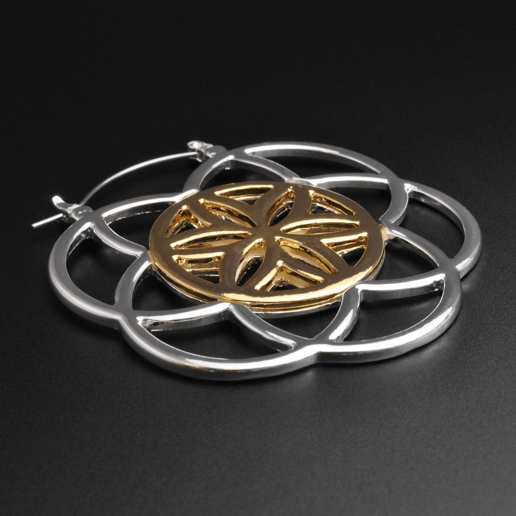 Seed Of Life Silver & Gold Plug Hoops
