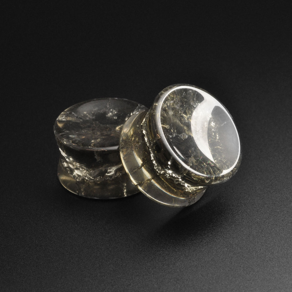 Smokey Cracked Glass Double Flare Concave Plug
