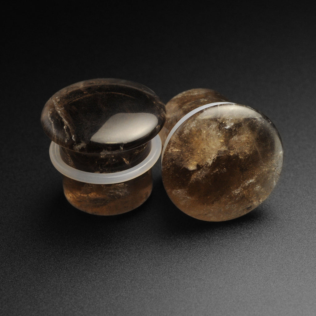 Smokey Quartz Single Flare Convex Stone Plug