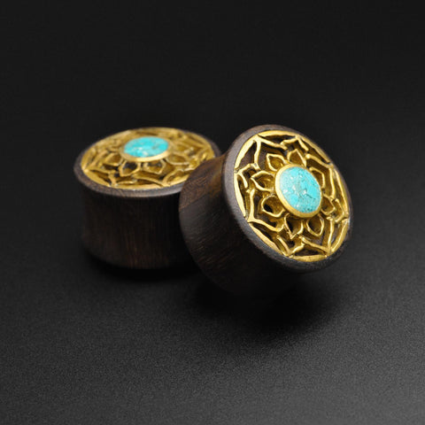 Sono Wood Double Flare Plug With Brass Lotus & Crushed Turquoise Inlay