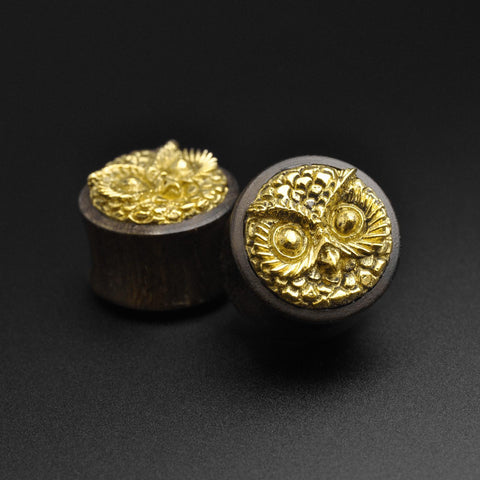 Sono Wood Double Flare Plug With Brass Owl Inlay