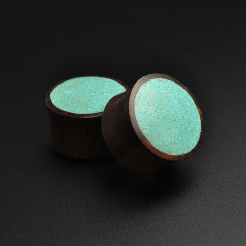 Sono Wood Double Flare Plug With Crushed Turquoise Inlay