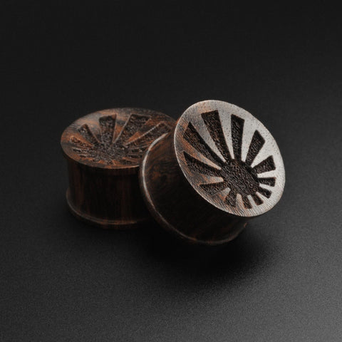 Sono Wood Double Flare Plug With Laser Engraved Sunrise