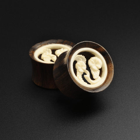 Sono Wood Double Flare Tunnel With Bone Flower Carving Inlay
