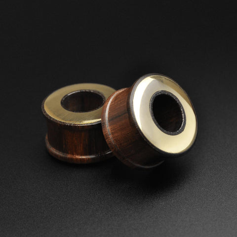 Sono Wood Double Flare Tunnel With Brass Halo Inlay