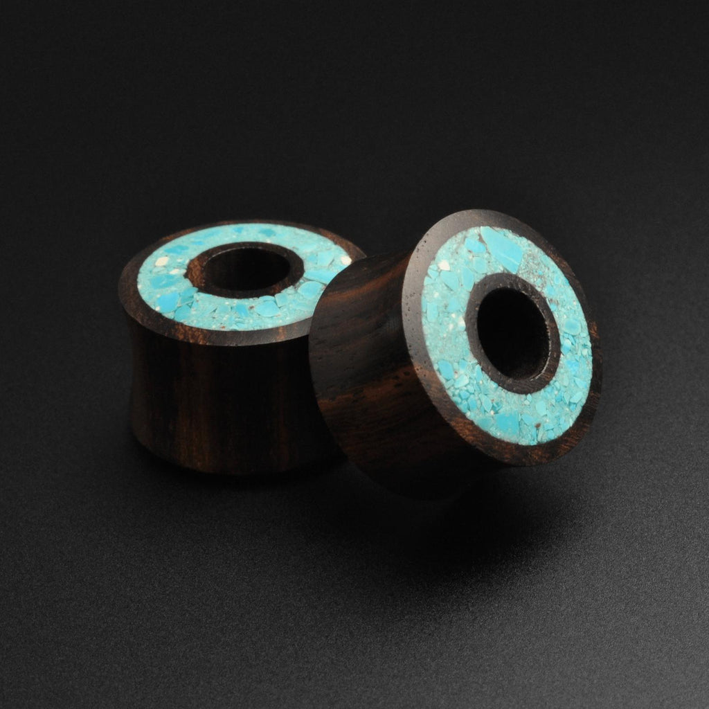 Sono Wood Double Flare Tunnel With Crushed Turquoise Halo Inlay