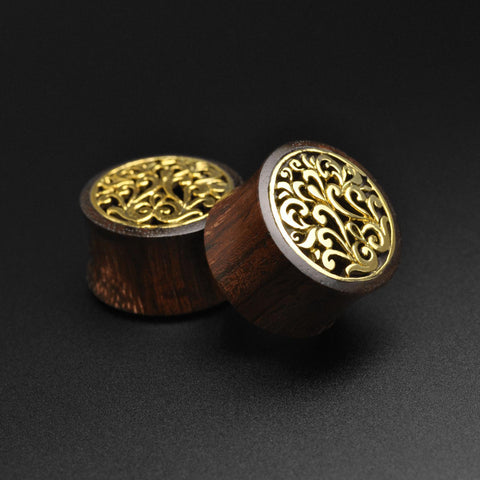 Sono Wood Double Flare Tunnel With Floral Brass Inlay