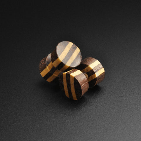 Sono Wood Fake Gauge Plug With Crocodile Wood Stripes