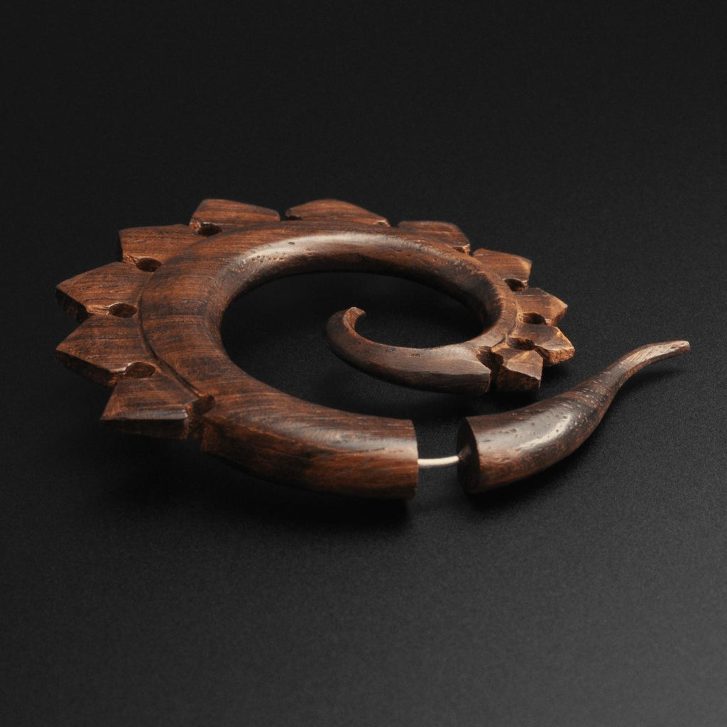 Sono Wood Fake Gauge Spiral With Dragons Tail Carving