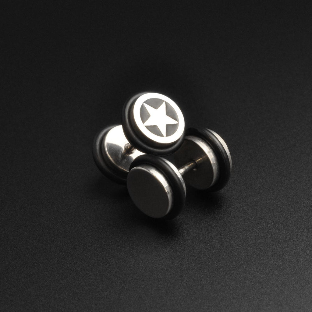 Star Design Surgical Steel Fake Gauge Plug