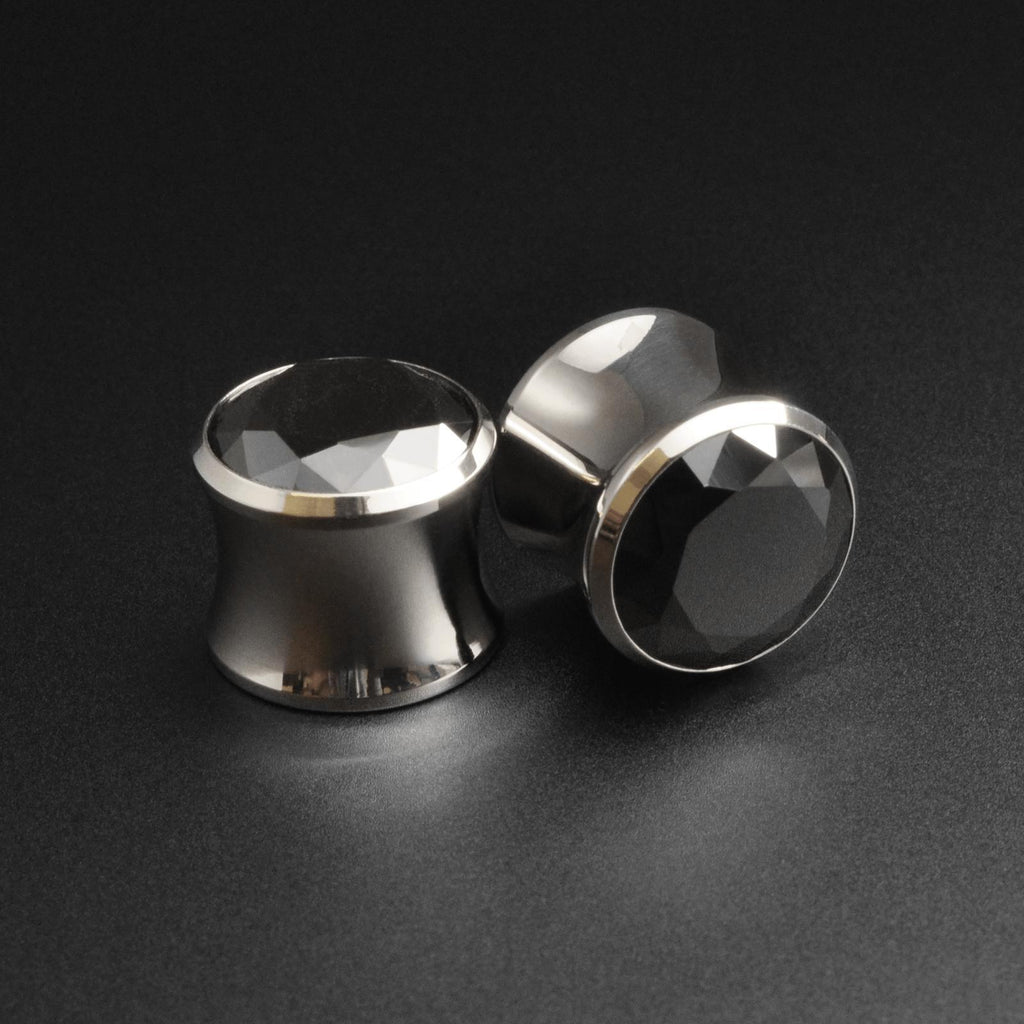 Surgical Steel Double Flare Plug With Faceted Black Gem Inlay