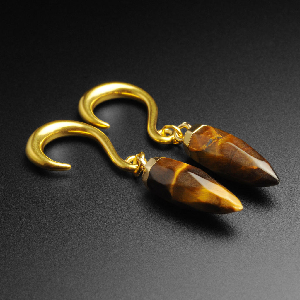 Tiger's Eye Faceted Pendant With Gold PVD Hook Mini Ear Weight