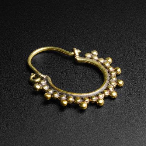 Trio Of Dots Brass Mini Plug Hoops