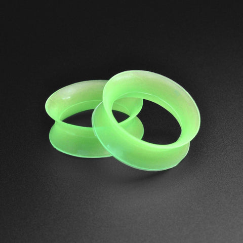 Ultra Thin Lime Green Silicone Double Flare Tunnel