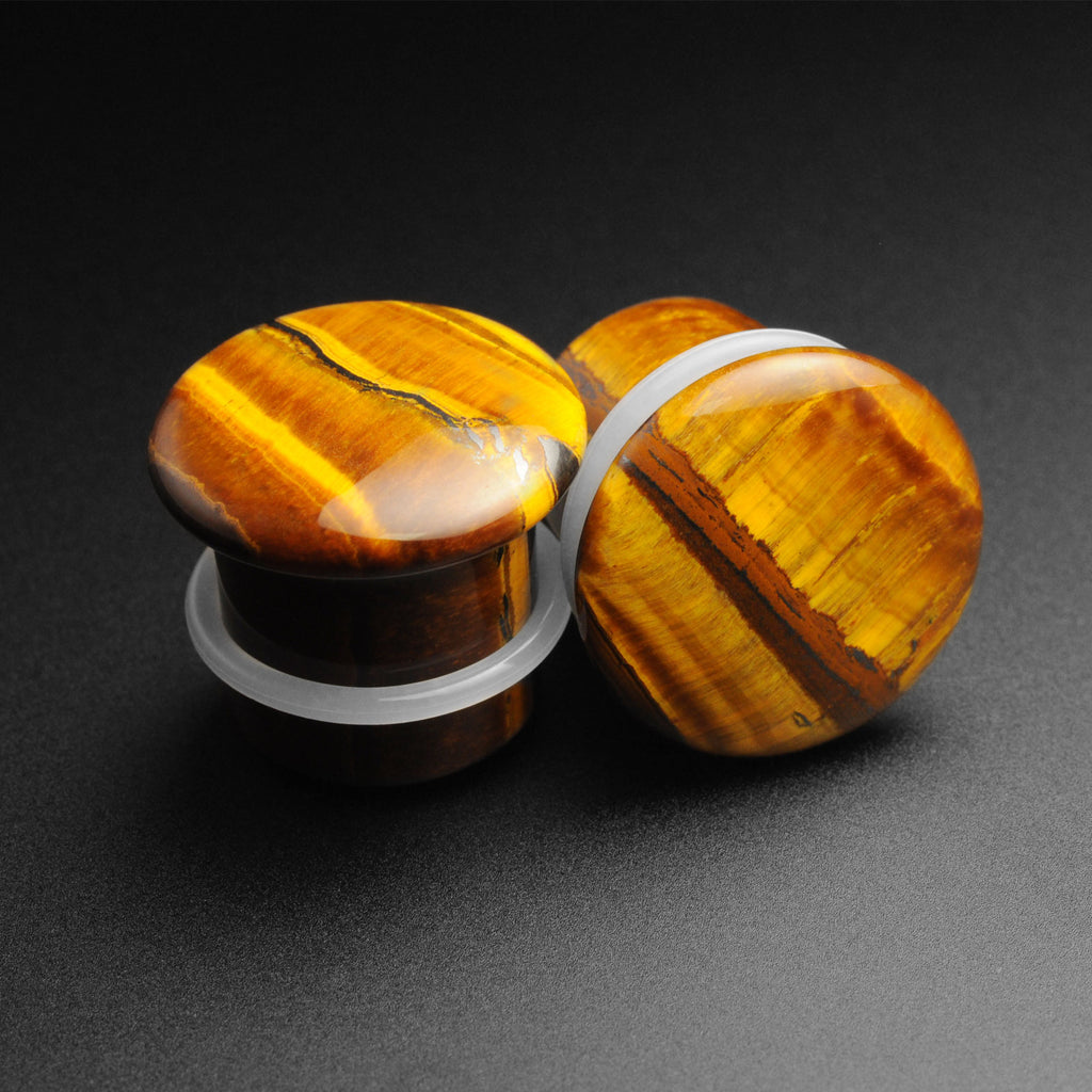 Yellow Tiger's Eye Single Flare Convex Stone Plug