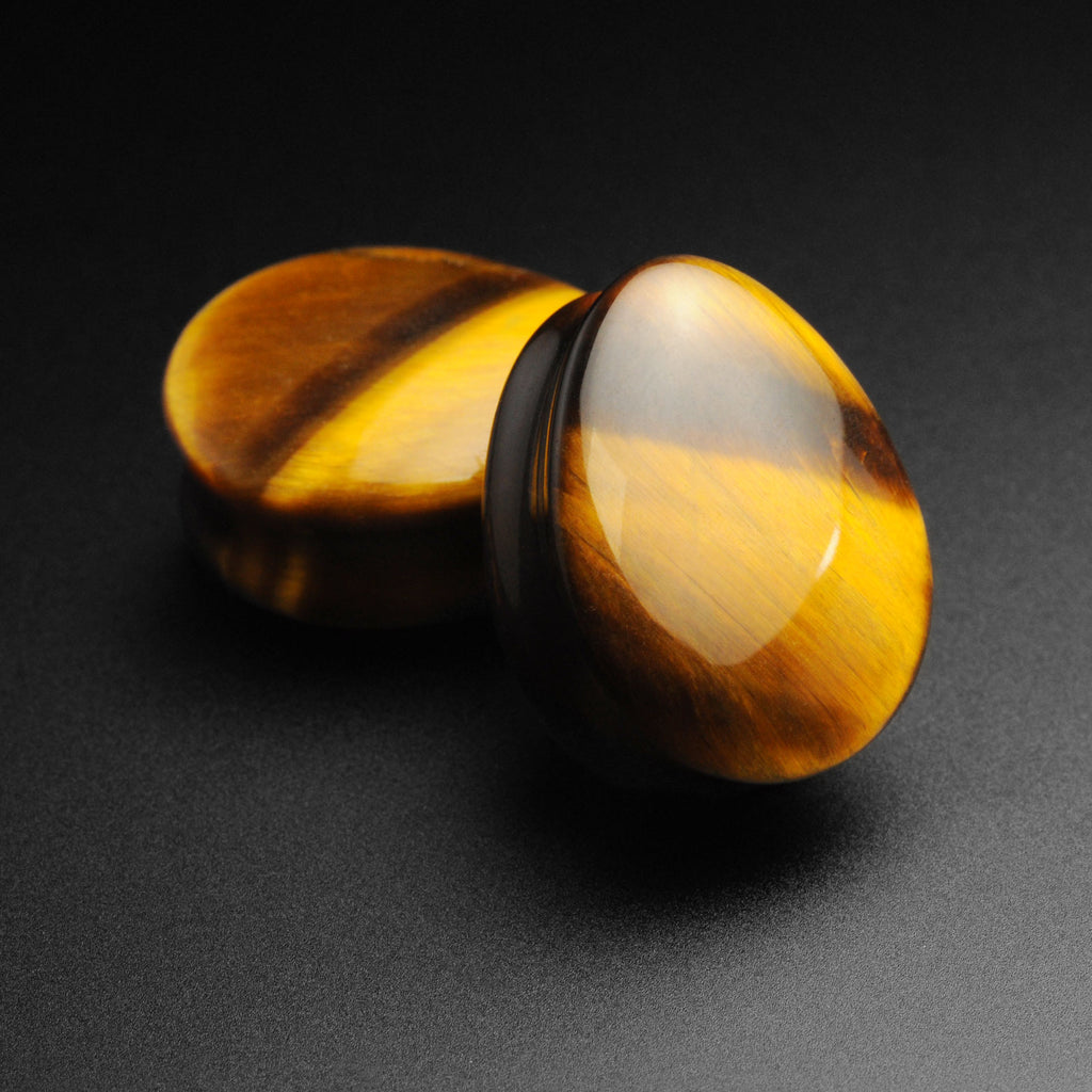 Yellow Tiger's Eye Double Flare Convex Teardrop Plug