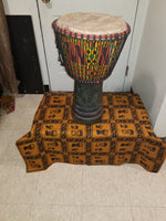 African Wood & kente hand carved djembe shipping included
