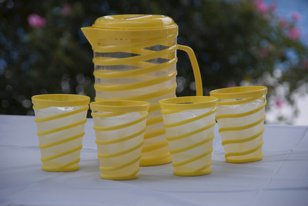 Plastic Swirl Pitcher and Glasses - Set of 5