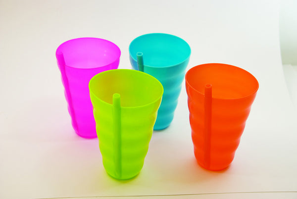 Sipper Cup with Built in Straw Set of 4