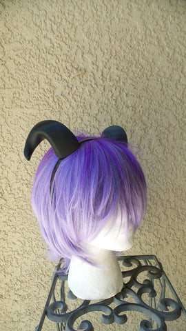 NEW ARRIVAL Small Bull Matador horns headband 3D printed cosplay comicon fantasy horns  option wow curly black sheep horns - Mud And Majesty