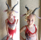 Madam Gazelle costume dress horned headband with ears red leg-warmers. - Mud And Majesty