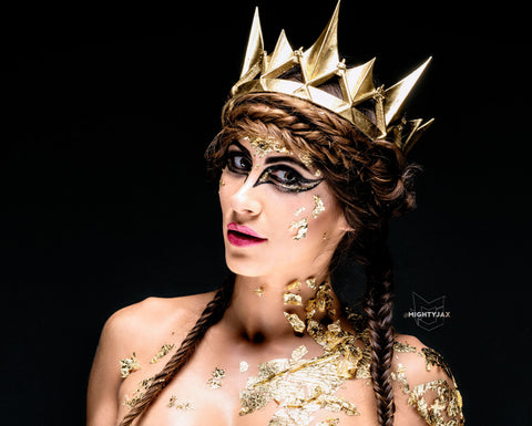 Gold crown Ravenna Inspired Adult queen crown 3d printed - Mud And Majesty