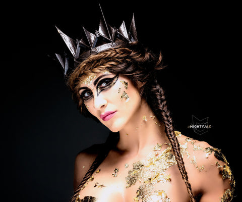 The dark queen Burnished Amber bronze crown Ravenna Inspired Adult queen crown 3d printed - Mud And Majesty