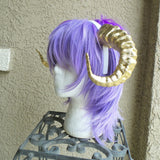 New Arrival:  Beast Grand Costume Cosplay ULTRA LIGHT WEIGHT Curled Beastly Horns Gold  Ram horns anime - Mud And Majesty