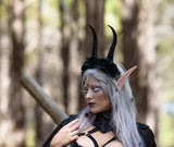 Gazelle horns Unattached to headband Elvish Larp headdress black animal horns 3D print - Mud And Majesty