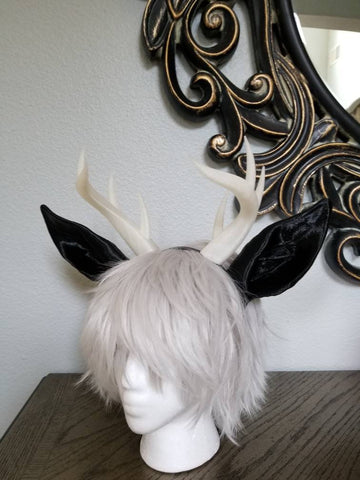 Jackalope ears and Antlers fantasy costume black animal ears- horns cosplay fantasy rabbit ears and horns - Mud And Majesty