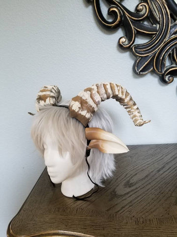 NEW ARRIVAL RAM horns headband 3D printed cosplay comicon fantasy horns beastly horns and ears combo wow large - Mud And Majesty