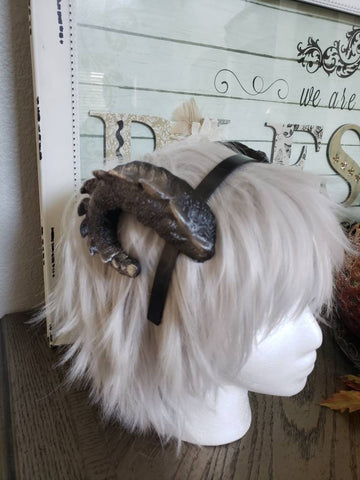NEW ARRIVAL Small Snap Dragon curled ram horns horned headband 3D printed cosplay comicon fantasy fursuit horns wow curly black sheep horns - Mud And Majesty